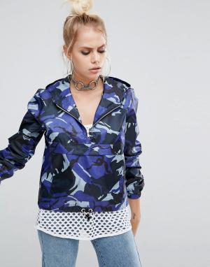 The Ragged Priest Камуфляжная укороченная куртка с короткой молнией и карманом спереди T. Цвет: синий
