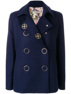 Приталенное двубортное пальто Piccione.Piccione. Цвет: синий