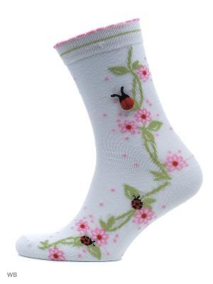 Носки Женские Malerba, комплект 4 пары Malerba. Цвет: белый, розовый