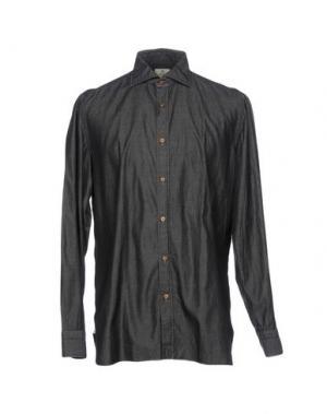 Джинсовая рубашка LUIGI BORRELLI NAPOLI. Цвет: стальной серый