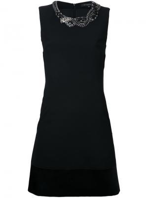 Платье мини с отделкой на горловине Barbara Bui. Цвет: чёрный