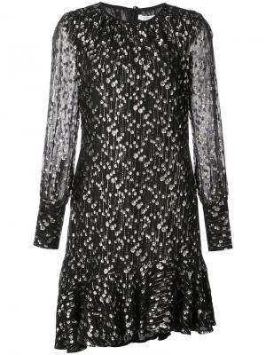 Асимметричное платье с длинными рукавами и оборкой Derek Lam 10 Crosby. Цвет: чёрный