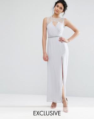 Elise Ryan Платье макси с кружевом и отделкой на талии. Цвет: серый