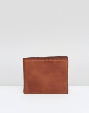 River Island Светло-коричневый кожаный кошелек. Цвет: коричневый