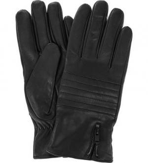 Кожаные перчатки с декоративной молнией Selected. Цвет: черный