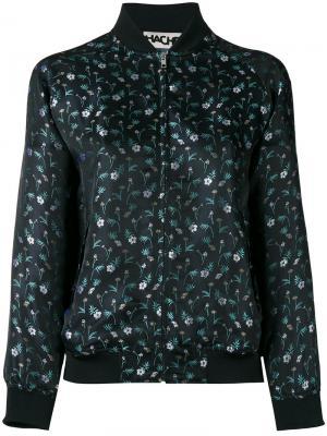 Куртка бомбер с цветочным узором Hache. Цвет: чёрный