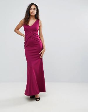 Jessica Wright Платье макси с глубоким вырезом. Цвет: красный
