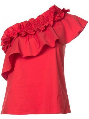 Асимметричная блузка с оборками Saloni. Цвет: красный