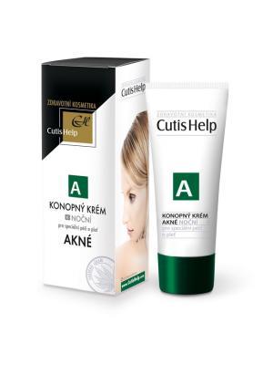 Конопляный крем ночной для кожи лица CutisHelp AKNE. Цвет: зеленый, белый