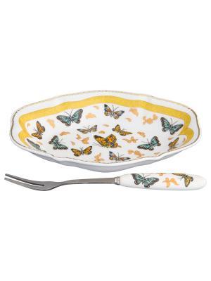 Тарелка для снеков Бабочки Elan Gallery. Цвет: белый, золотистый, оранжевый