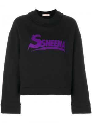 Укороченная толстовка с принтом логотипа Ssheena. Цвет: чёрный
