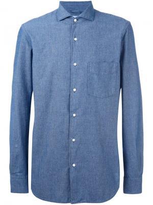 Рубашка из шамбре Aspesi. Цвет: синий