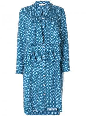 Платье с оборкой и узором Peter Jensen. Цвет: синий