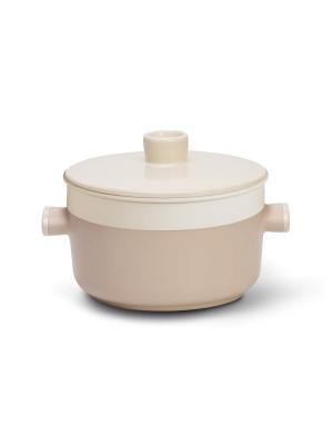 Кастрюля TVS Tea с керамической крышкой и пароваркой, 24 см. Цвет: светло-коричневый