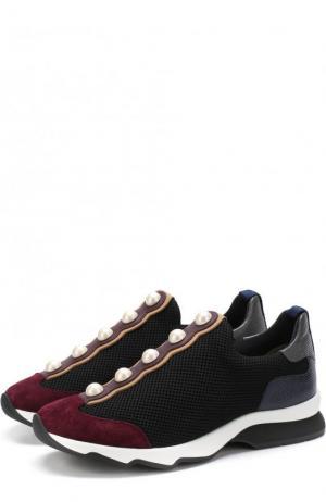 Комбинированные кроссовки с декором без шнуровки Fendi. Цвет: черный