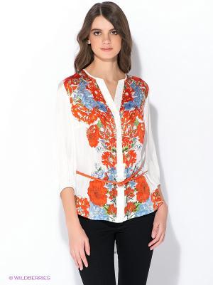 Блузка Oodji. Цвет: белый, оранжевый