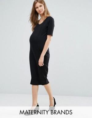 New Look Maternity Платье миди для беременных в рубчик. Цвет: черный
