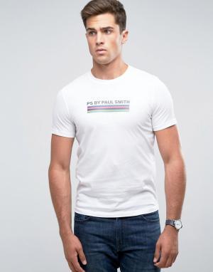 PS Paul Smith Белая футболка узкого кроя с логотипом и полосками. Цвет: белый