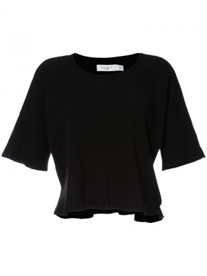 Укороченная футболка вафельной вязки Daniel Patrick. Цвет: чёрный