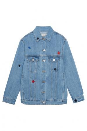 Джинсовая куртка со звездами Etre Cecile. Цвет: голубой