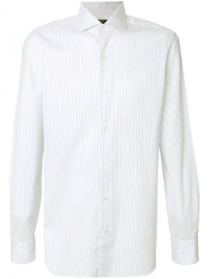 Приталенная рубашка с длинными рукавами Barba. Цвет: белый