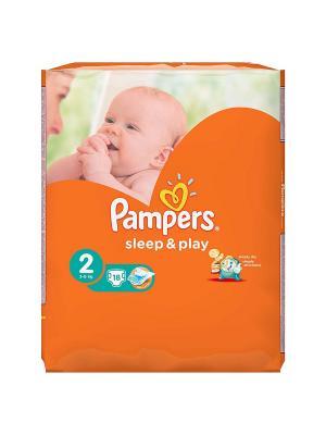 Подгузники Sleep & Play 3-6 кг, 2 размер, 18 шт. Pampers. Цвет: оранжевый