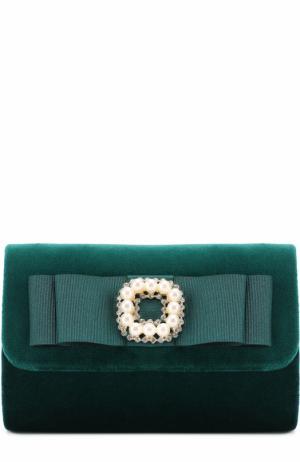Текстильный клатч с бантом и декором David Charles. Цвет: зеленый