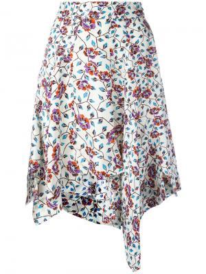 Асимметричная юбка с цветочным принтом Isabel Marant. Цвет: белый
