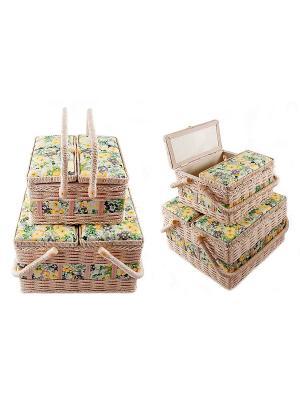 Набор шкатулок для рукоделия из 2-х шт. Русские подарки. Цвет: бледно-розовый, темно-коричневый, хаки