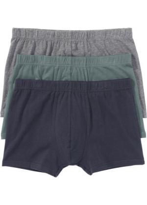 Трусы-боксеры (3 шт.) (серый меланж/зеленый/синий) bonprix. Цвет: серый меланж/зеленый/синий