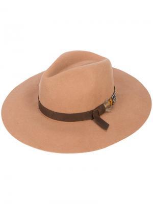 Широкополая шляпа-федора Sensi Studio. Цвет: коричневый
