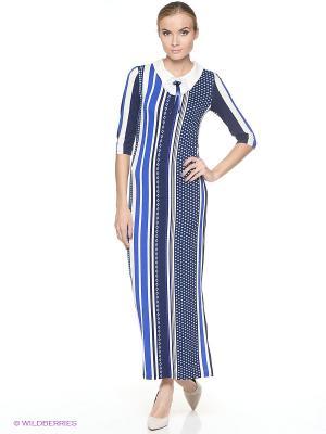 Платье ADZHEDO. Цвет: синий, молочный
