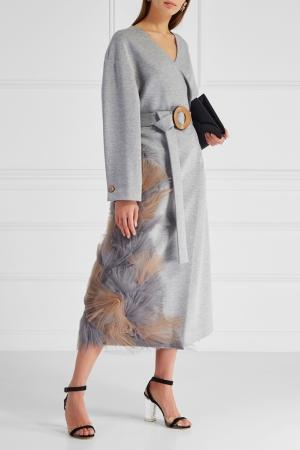 Однотонное пальто Ruban. Цвет: серый