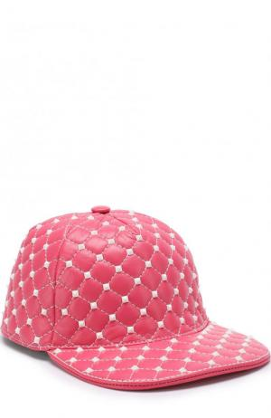 Кожаная кепка  Garavani Rockstud Spike Free Valentino. Цвет: розовый
