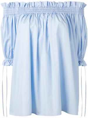 Блузка с открытыми плечами Alexander McQueen. Цвет: синий
