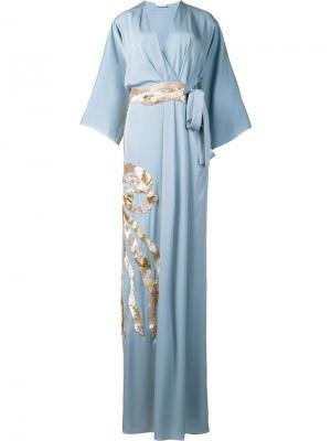 Платье с металлизированной отделкой Vionnet. Цвет: синий
