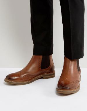 Base London Кожаные ботинки челси Riley. Цвет: рыжий