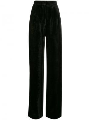 Бархатные широкие брюки с блестками Navro. Цвет: чёрный