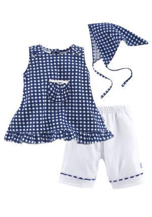 Комплект, 3 части: платье + брюки платок Otto. Цвет: синий