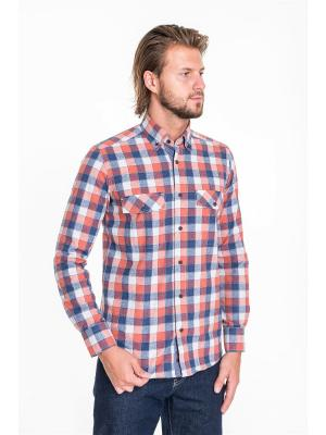 Рубашка Westrenger. Цвет: рыжий, темно-синий