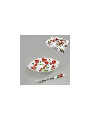 Блюдо с вилочкой ЦВЕТЫ МАКА 16,5 см BRISWILD. Цвет: белый