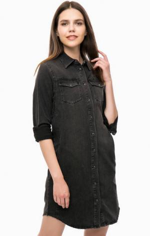 Серое джинсовое платье с карманами Lee. Цвет: серый