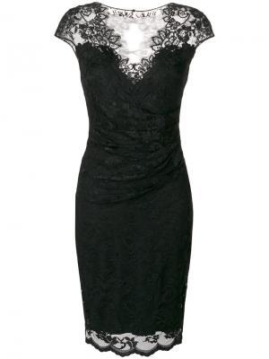 Приталенное кружевное платье Olvi´S. Цвет: чёрный