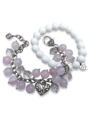 Браслет Be mine Valentine Rose + подарок Магазин браслетов. Цвет: прозрачный, белый, розовый