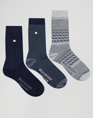 William Hunt 3 пары носков. Цвет: черный