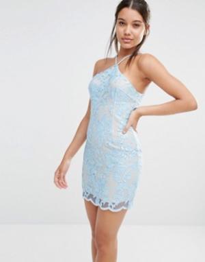 Love Triangle Кружевное платье мини с халтером. Цвет: синий