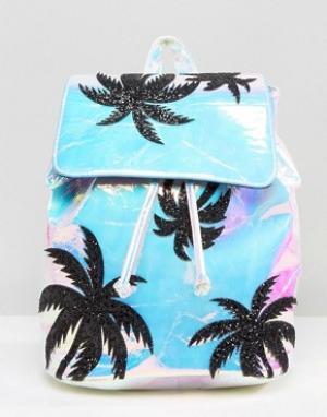 Skinnydip Переливающийся рюкзак с блестками на пальмах. Цвет: мульти