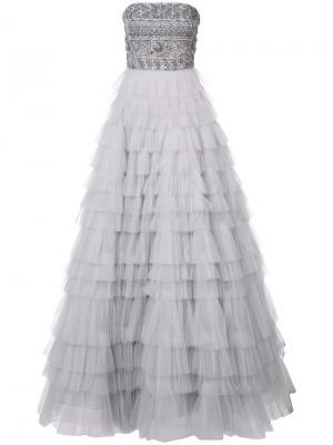 Платье без бретелек с вышивкой J. Mendel. Цвет: белый