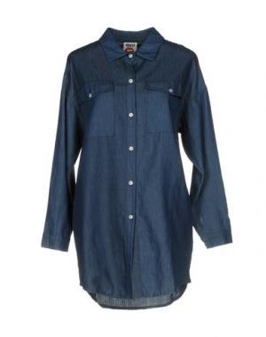 Джинсовая рубашка FOLLOW US. Цвет: синий