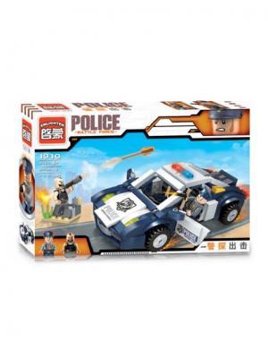 Конструктор Машина Полиция с фигуркой, 303 дет. ENLIGHTEN. Цвет: синий, серый, желтый, белый